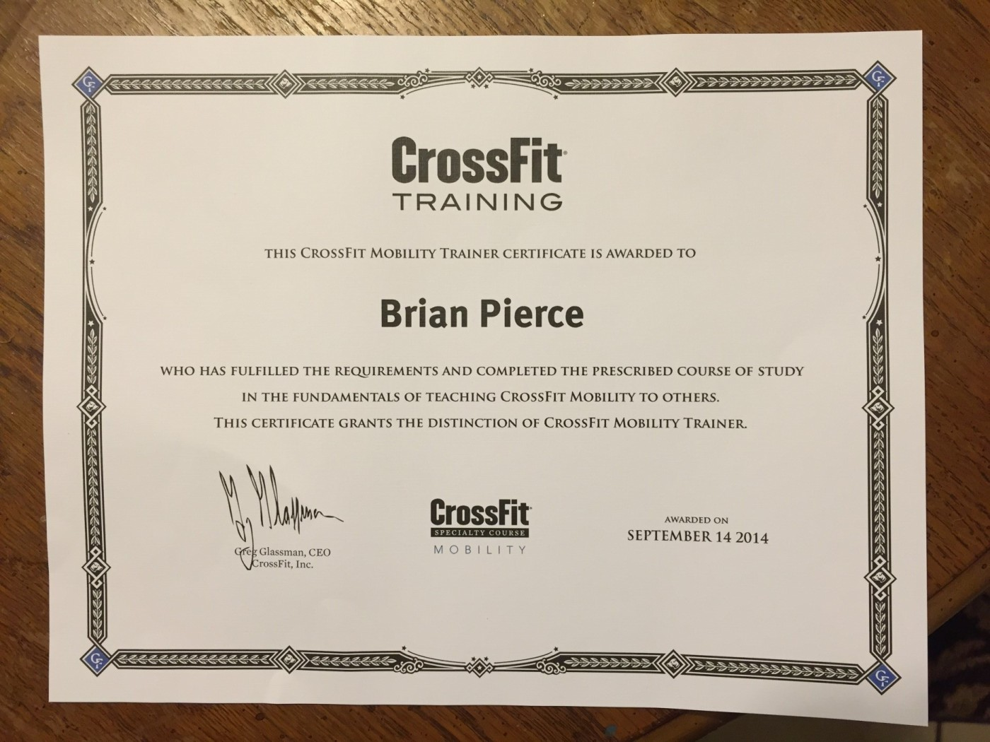 Brian Pierce Certified CrossFit Mobility