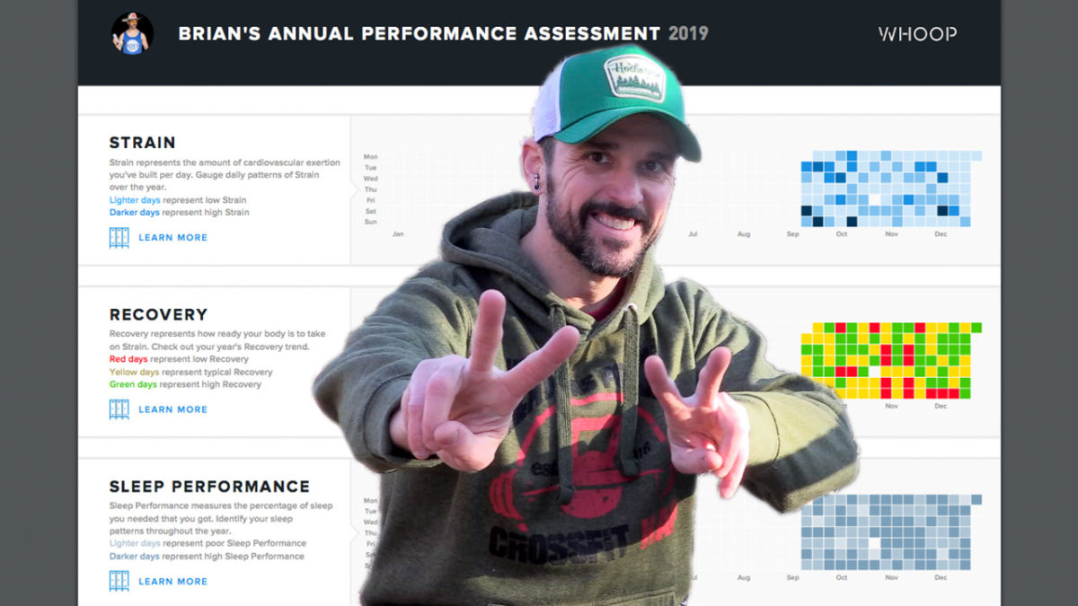 Brian with peace signs in front of his Whoop Annual Performance Assessment Document